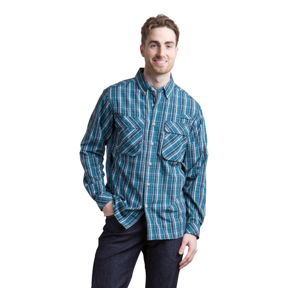 ExOfficio Men's Air Strip Macro Plaid LS Shirt DKATLANTIC