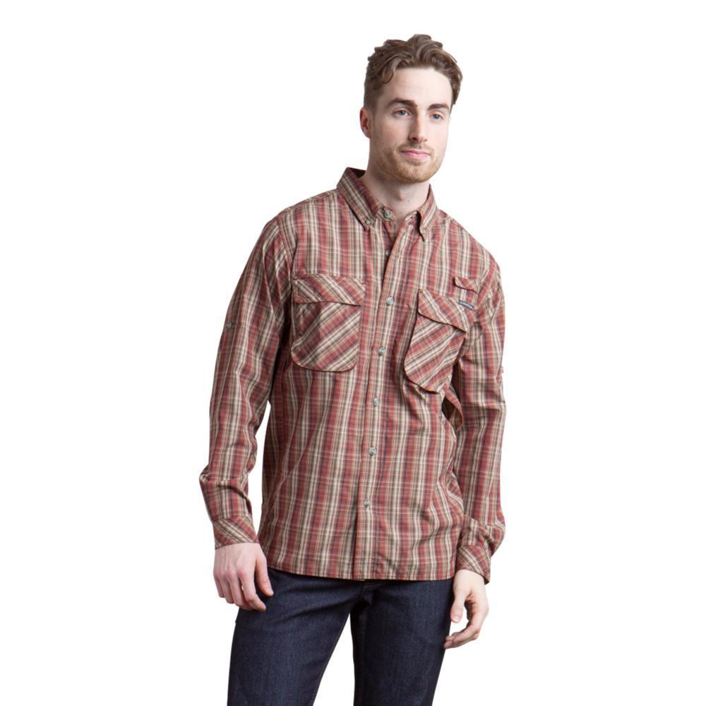 ExOfficio Men's Air Strip Macro Plaid LS Shirt DKBRICK