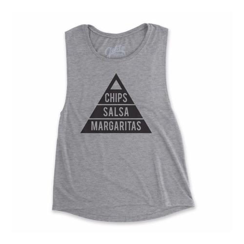 Gusto Tees Women's Chips, Salsa, Margaritas Muscle Tank Athleticgray