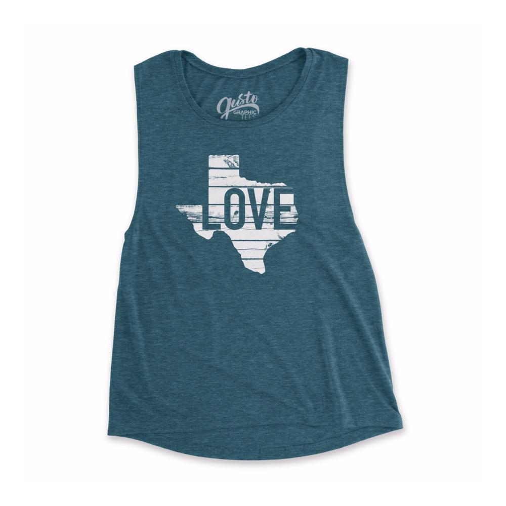 Gusto Tees Women's Texas Love Muscle Tank HEATHERTEAL