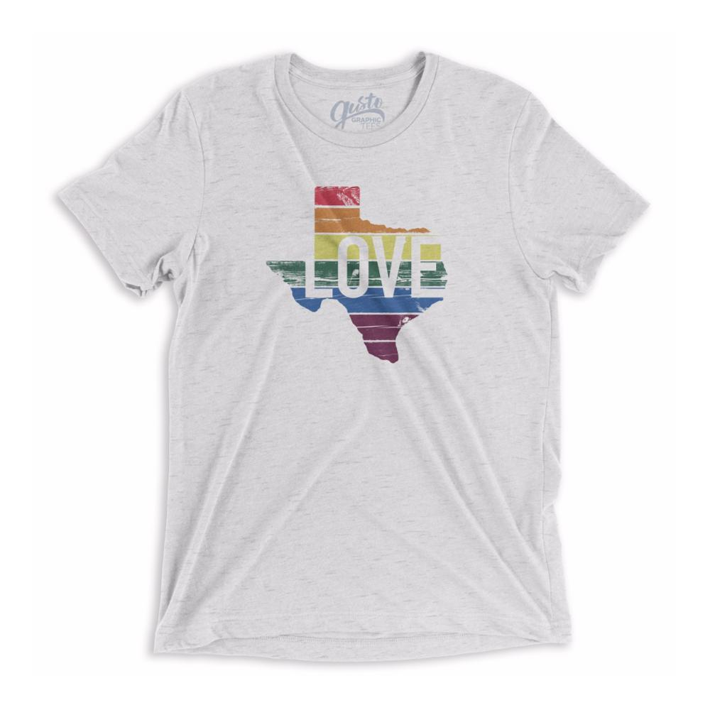 Gusto Tees Unisex Texas Love Rainbow Pride T-Shirt WHITE