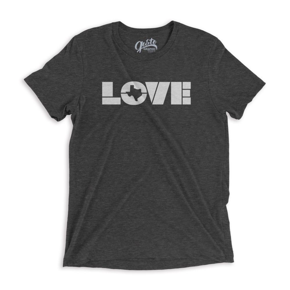 Gusto Tees Unisex Love Texas T- Shirt