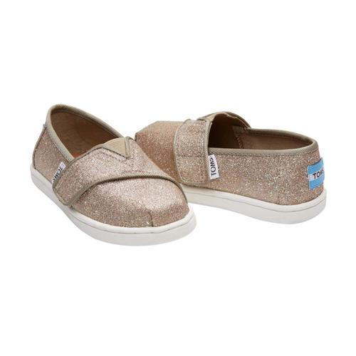 TOMS Kids Rose Gold Glimmer Tiny Alpargatas