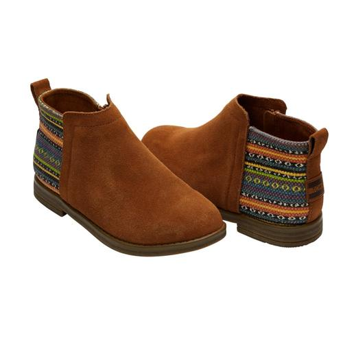 TOMS Kids Cinnamon Suede Youth Deia Booties