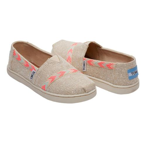 TOMS Youth Natural Metallic Burlap Alpargatas
