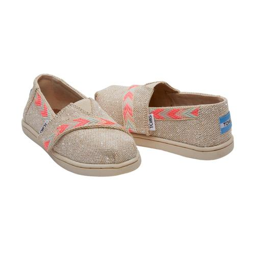 TOMS Kids Natural Metallic Burlap Tiny Alpargatas