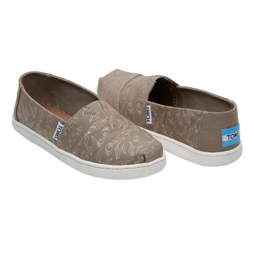 TOMS Youth Desert Taupe Foil Feathers Alpargatas