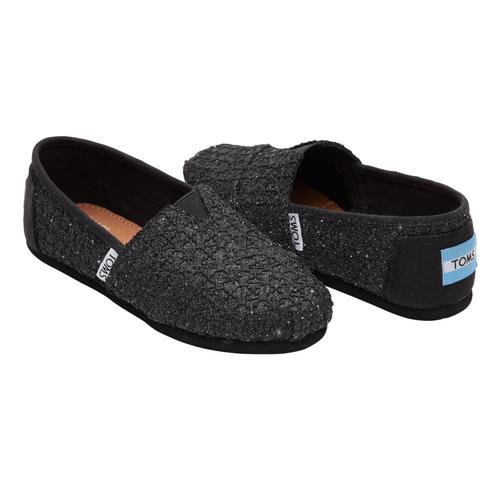 TOMS Youth Black Lace Glimmer Alpargatas