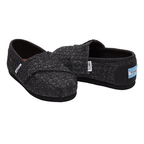 TOMS Kids Black Lace Glimmer Tiny Alpargatas
