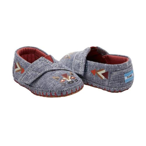 TOMS Infant Navy Chambray Fox Tiny Crib Alpargatas