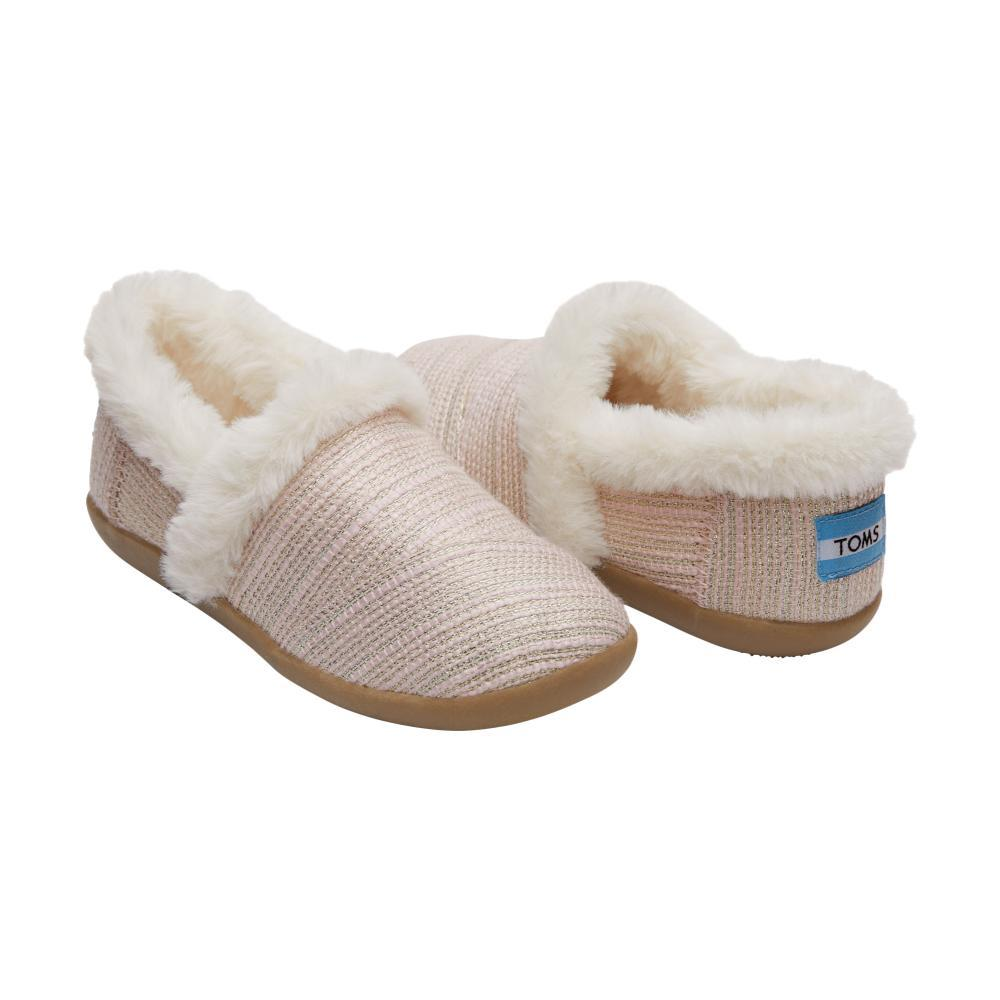 Toms Youth Pink Metallic Woven House Slippers