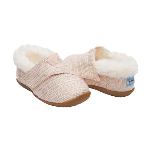 TOMS Kids Pink Metallic Woven Tiny House Slippers