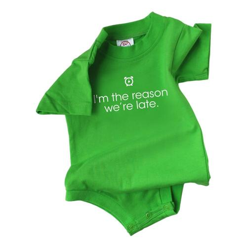 Wry Baby Infant Reason Why We Are Late Onesie