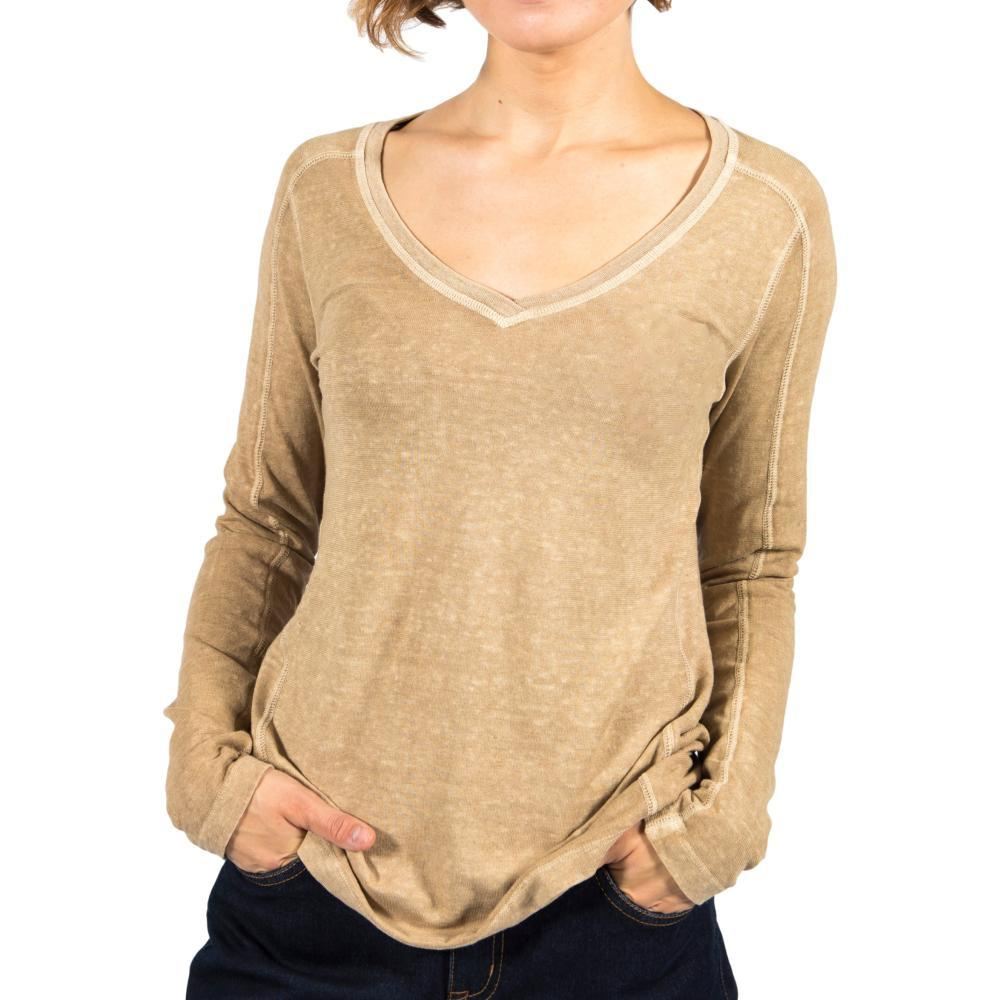 Gramicci Women's Delia V-Neck Long Sleeve Shirt CAMEL