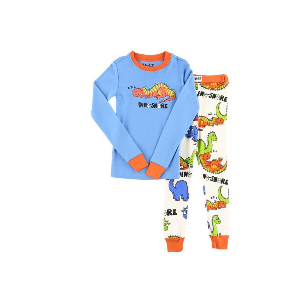 Lazy One Kids Dino-Snore Long Sleeve PJ Set BLUE_WHT