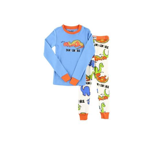 Lazy One Kids Dino-Snore Long Sleeve PJ Set