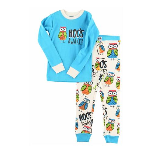 Lazy One Kids Hoo's Awake Long Sleeve PJ Set