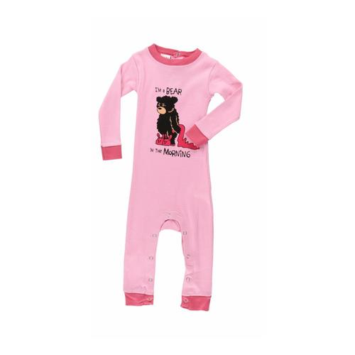Lazy One Infant Bear In The Morning Long Sleeve Onesie Pink a726a5ac3