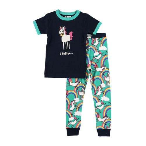 Lazy One Kids I Believe Unicorn Short Sleeve PJ Set Blue