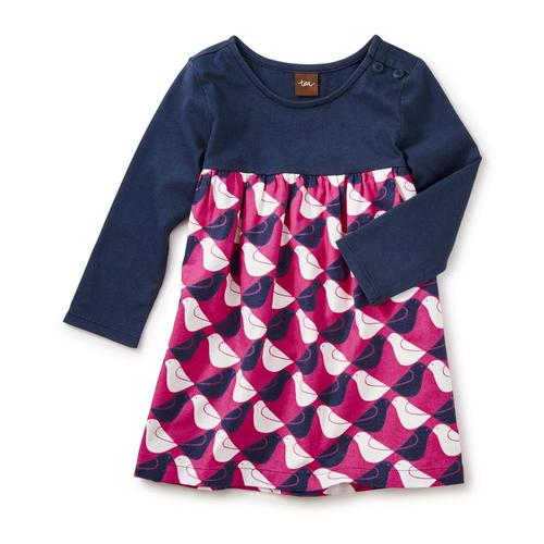 Tea Collection Kids Argyle Birds Two-Tone Dress