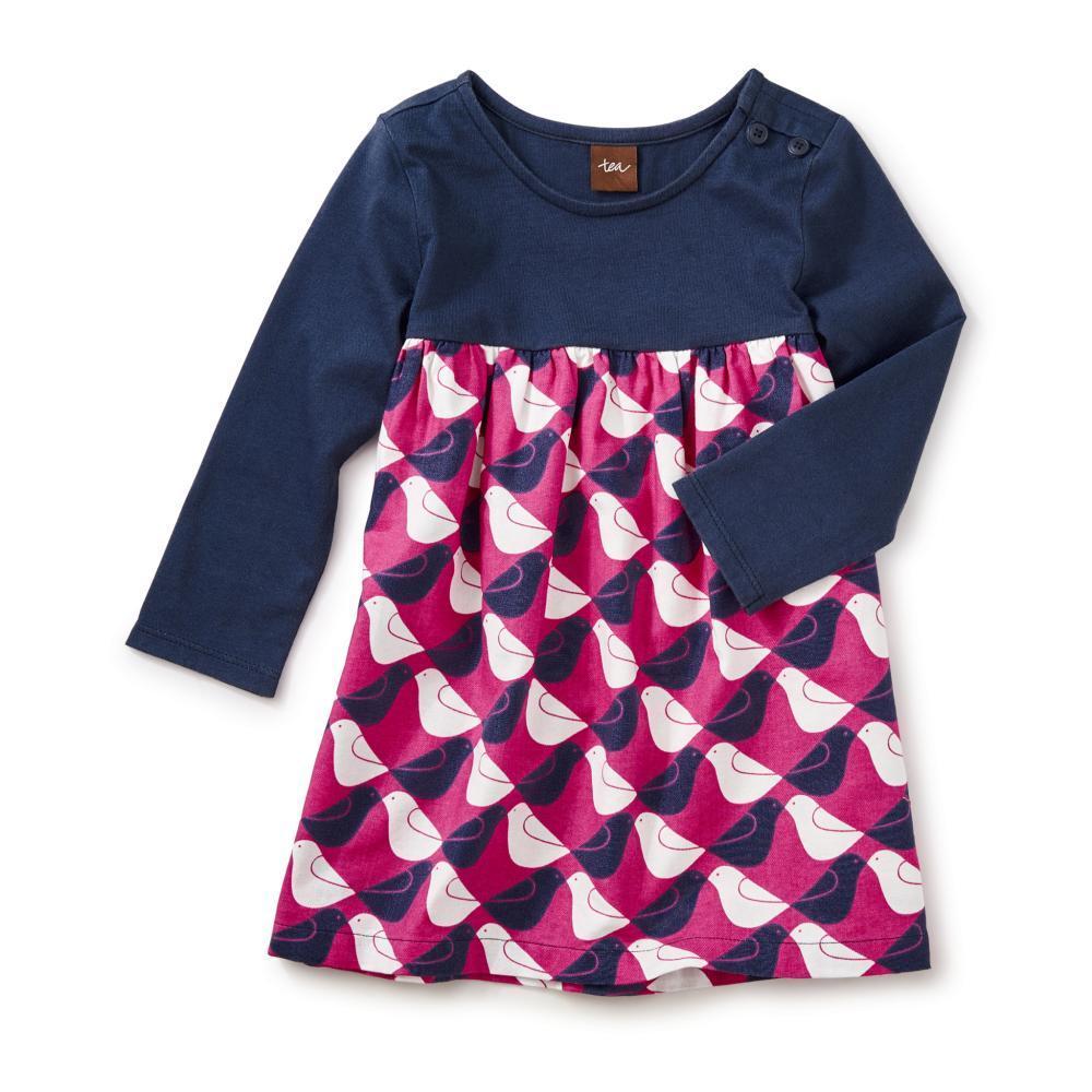 Tea Collection Kids Argyle Birds Two-Tone Dress INDIGO