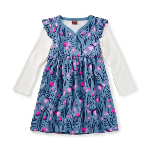 Tea Collection Kids Snowdrop Button Neck Dress