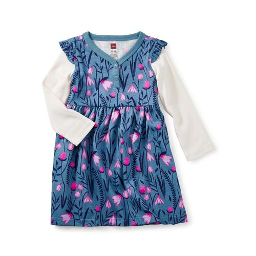 Tea Collection Infant Snowdrop Baby Button Neck Dress