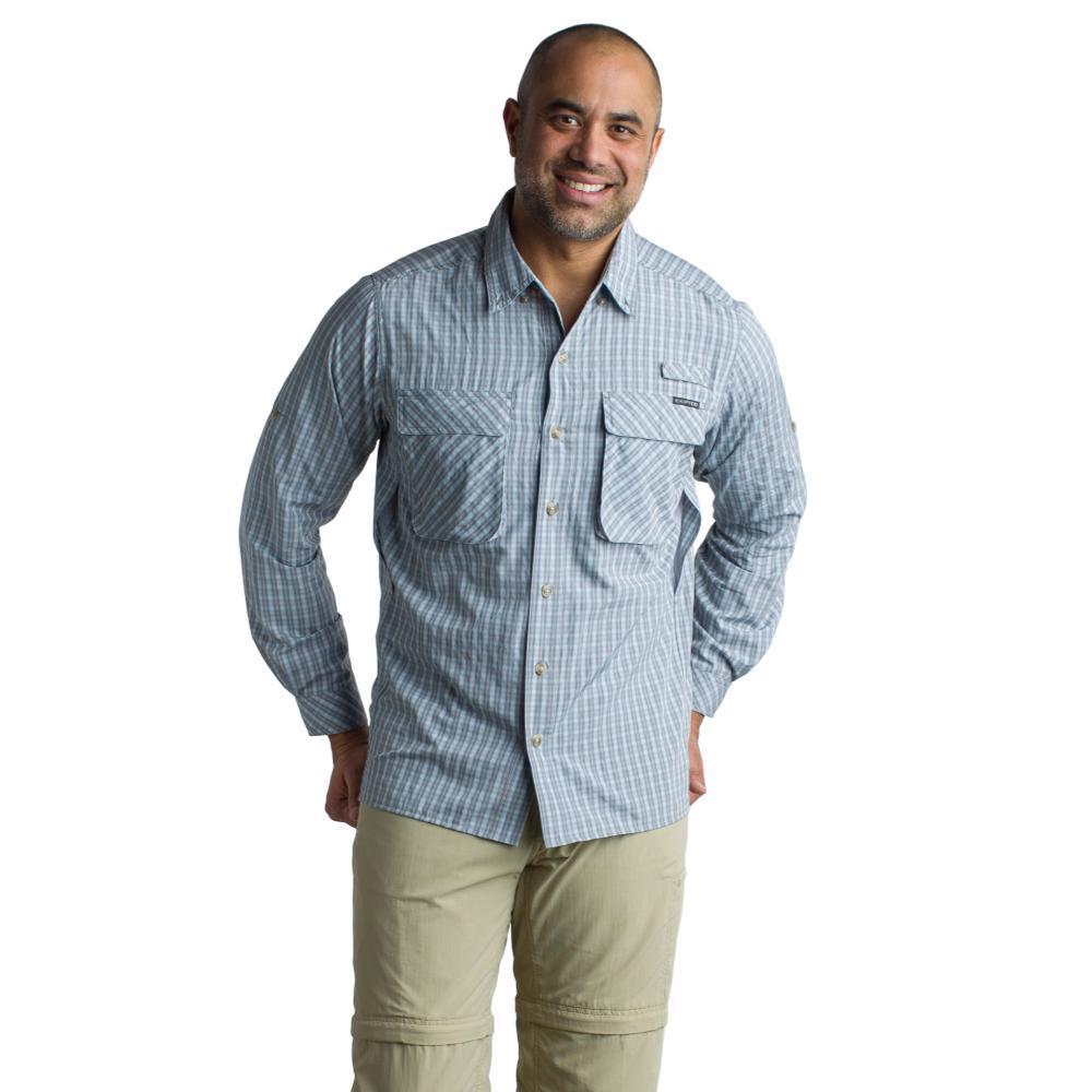 ExOfficio Men's Air Strip Check Plaid Long Sleeve Shirt CEMENT