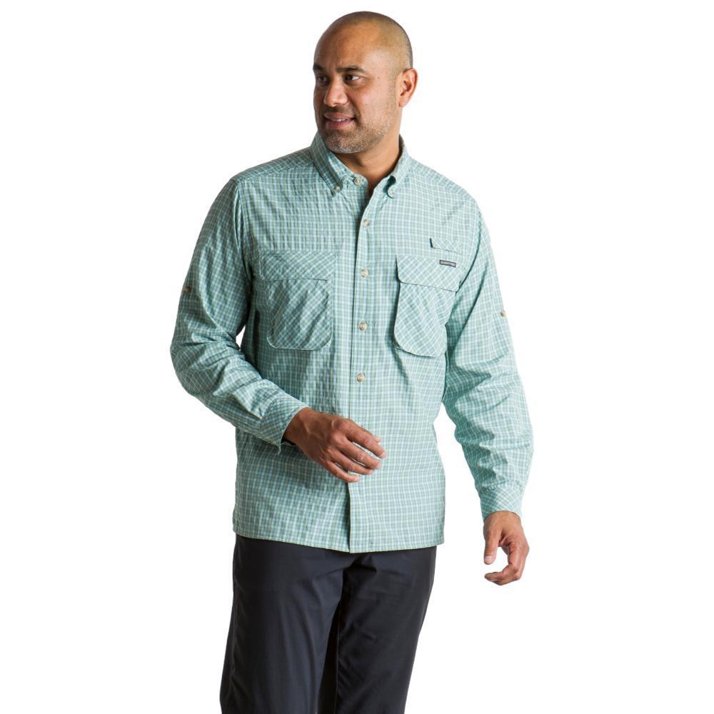 ExOfficio Men's Air Strip Check Plaid Long Sleeve Shirt DUSTYSAGE