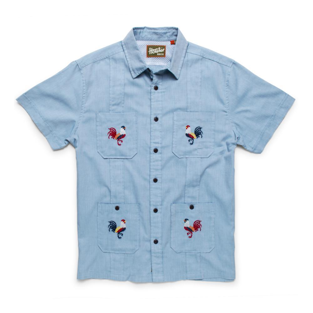 Howler Brothers Men's Guaybera Fantastica Short Sleeve Shirt ROOSTERS