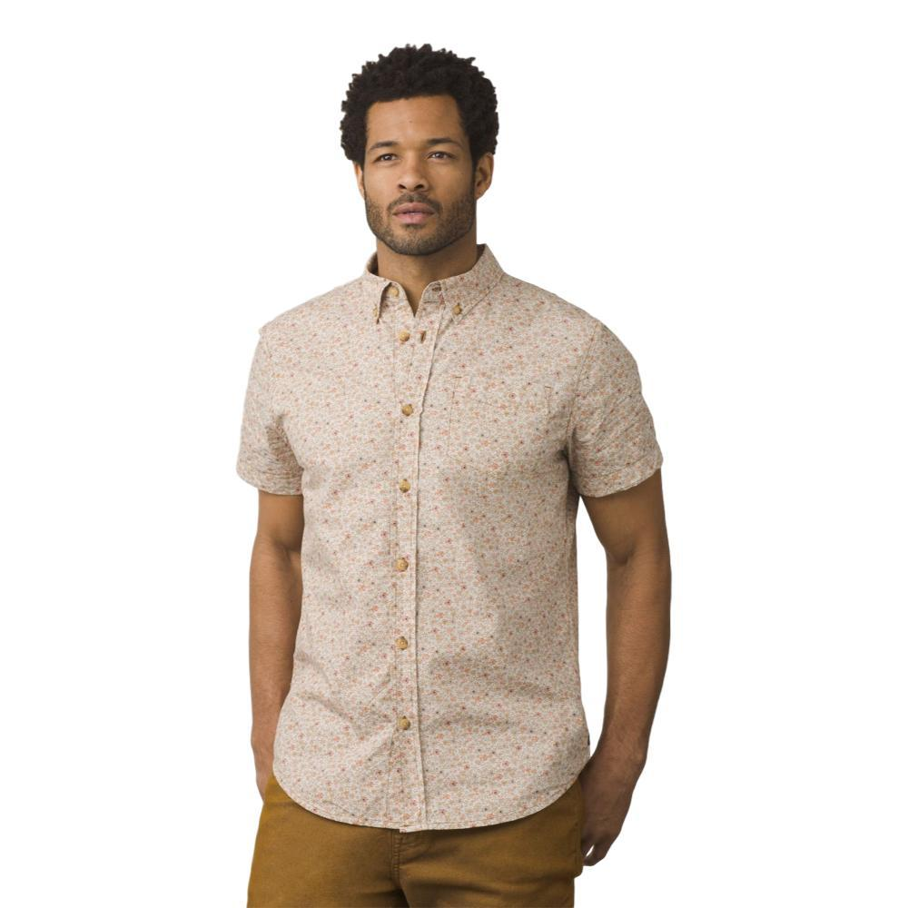 prAna Men's Broderick Floral Slim Short Sleeve Shirt CUMIN