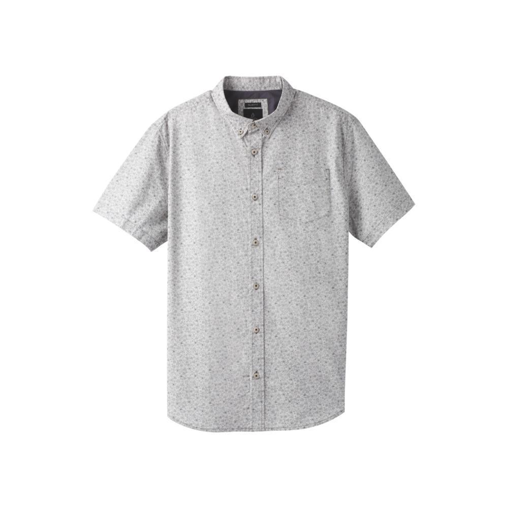 prAna Men's Broderick Floral Slim Short Sleeve Shirt GRAVEL
