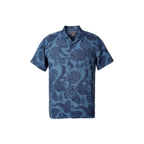 Royal Robbins Men's Throwback Palm Short Sleeve Shirt Bluestone