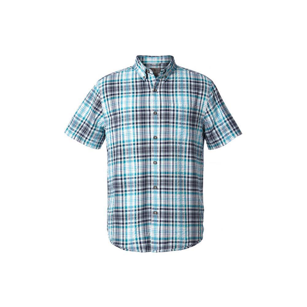 Royal Robbins Men's Mid-Coast Seersucker Plaid Short Sleeve Shirt COLLBLUE