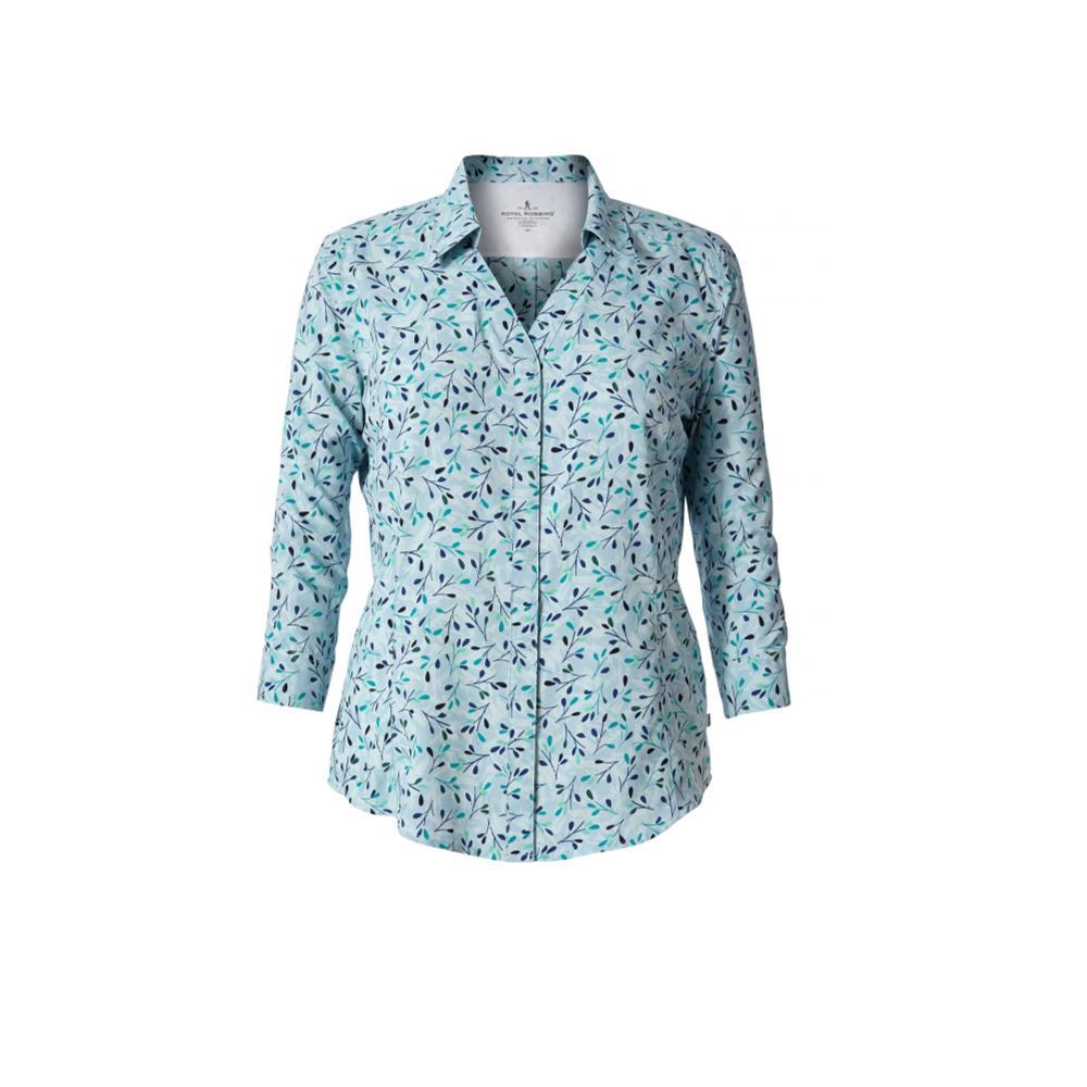 Royal Robbins Women's Expedition Chill Print 3/4 Sleeve Shirt BLUECLOUD