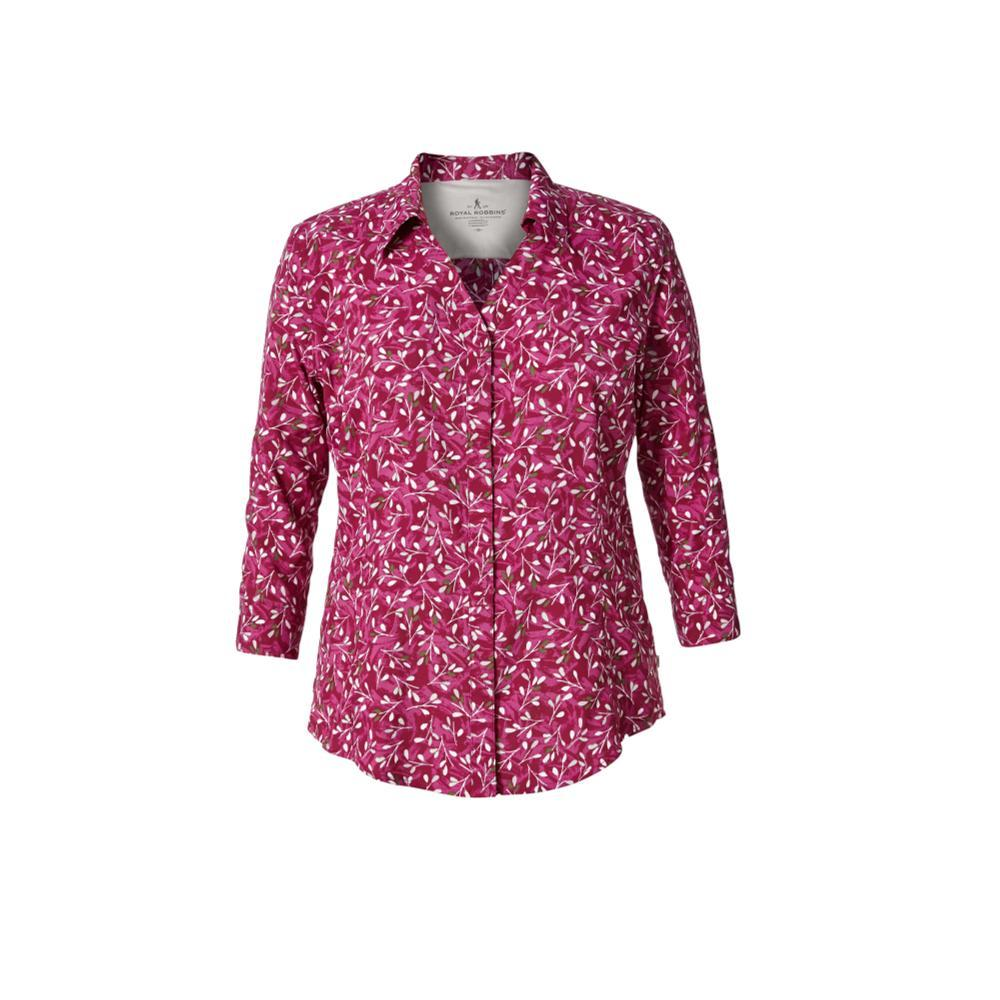 Royal Robbins Women's Expedition Chill Print 3/4 Sleeve Shirt RASPBERRY