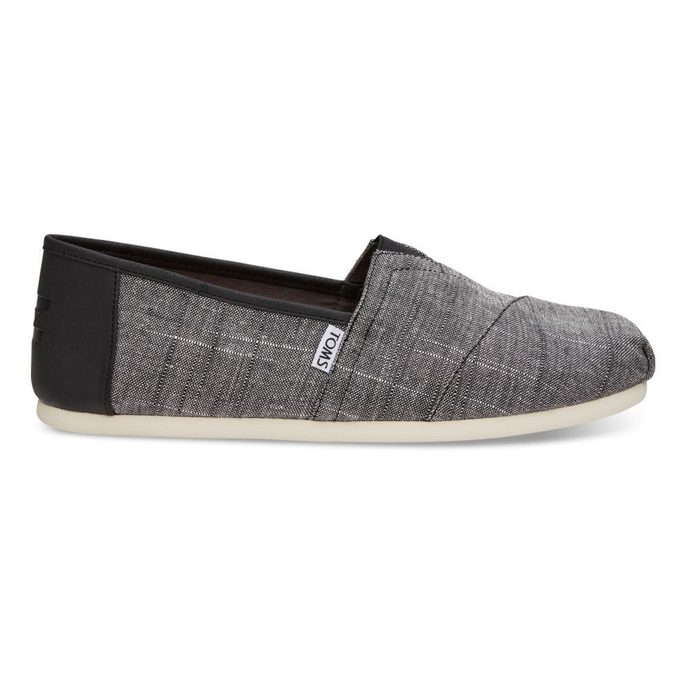 TOMS Men's Black Textured Chambray/Trim Classics Slip-On Shoes BLKTXTCHM_TRM