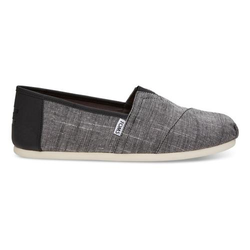 TOMS Men's Black Textured Chambray/Trim Classics Slip-On Shoes Blktxtchm_trm