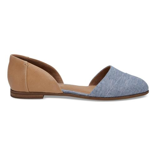 TOMS Women's Honey Leather Blue Chambray Jutti D'Orsay Flats
