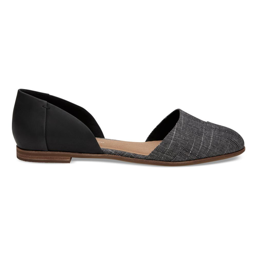 TOMS Women's Black Leather Chambray Jutti D'Orsay Flats BLKCHAMB