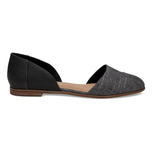TOMS Women's Black Leather Chambray Jutti D'Orsay Flats