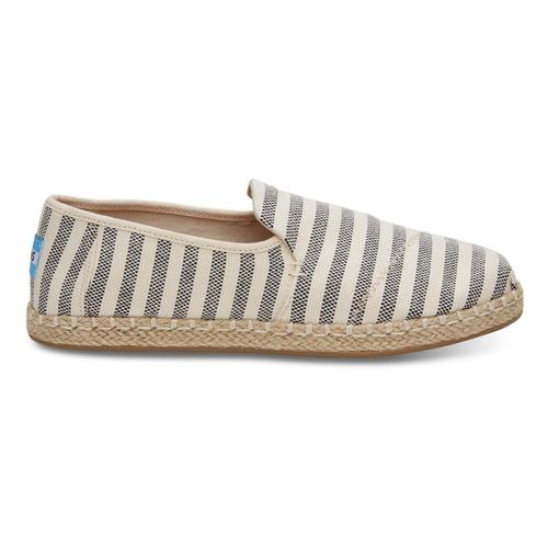 TOMS Women's Black Woven Stripe Deconstructed Alpargatas Blkstrp
