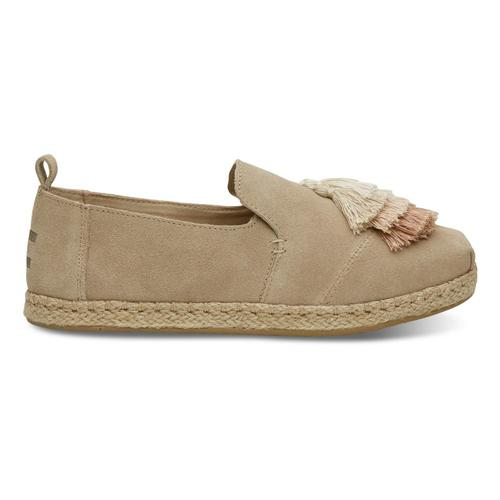 TOMS Women's Oxford Tan Suede Tassel Deconstructed Alpargatas