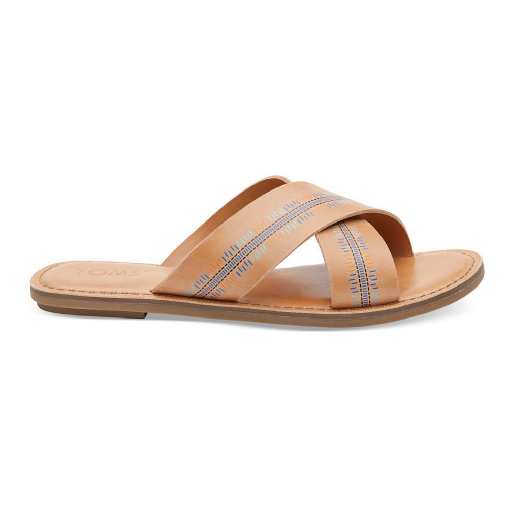 TOMS Women's Honey Leather Embossed Viv Sandals HONEY