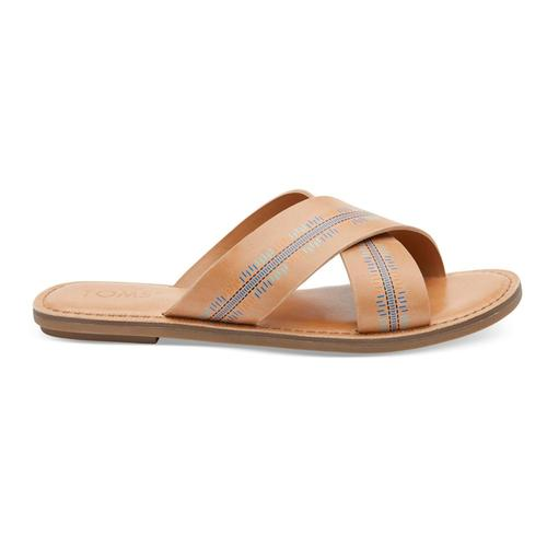 TOMS Women's Honey Leather Embossed Viv Sandals Honey