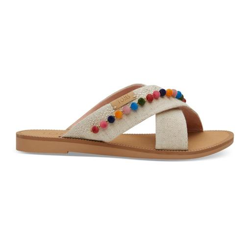 TOMS Youth Natural Hemp/Pom Poms Viv Sandals
