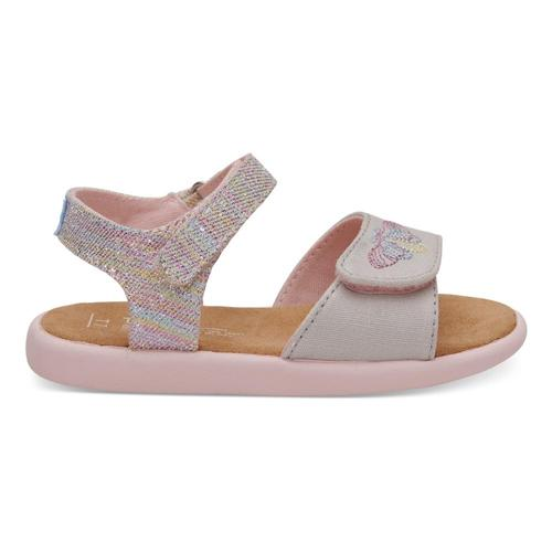 TOMS Kids Pink Twill Glimmer Strappy Sandals