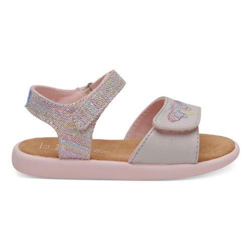 TOMS Kids Pink Twill Glimmer Strappy Sandals