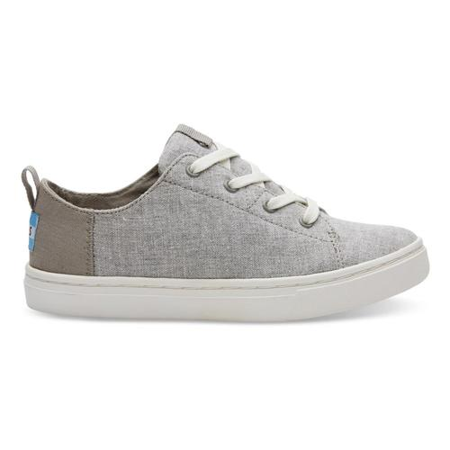 TOMS Youth Drizzle Grey Slub Chambray Lenny Sneakers