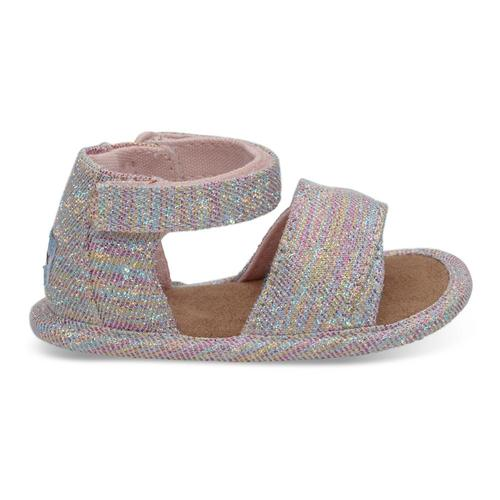 TOMS Toddler Pink Multi Twill Glimmer Shiloh Sandals